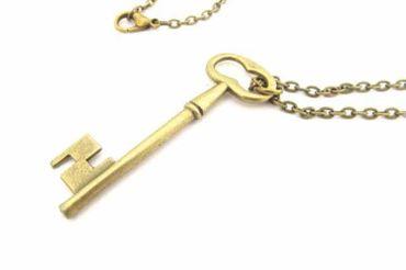 Schlüssel Kette Halskette Miniblings 50cm Key Schlüsselkette rund Schloss Bronze
