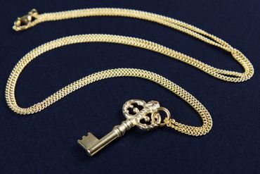 Key Necklace Miniblings 80cm Key Castle Gold- Plated  – Bild 2