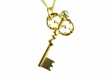 Key Necklace Miniblings 80cm Key Castle Gold- Plated – Bild 1