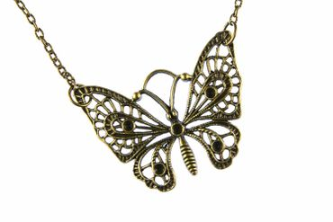 Butterfly Necklace Miniblings 80cm Butterfly Necklace Butterfly Brz – Bild 1