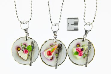 Slice Of Cake Necklace Miniblings 80cm Cake Tart Dessert Plate Plate Cawaii Flower – Bild 2