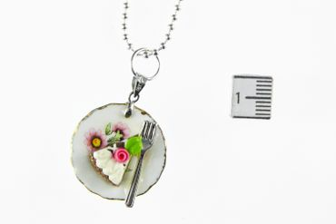 Slice Of Cake Necklace Miniblings 80cm Cake Tart Dessert Plate Plate Cawaii Flower – Bild 4