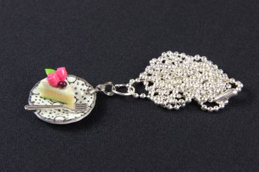 Slice Of Cake Necklace Miniblings 80cm Cake Tarte Dessert Plate Plate Cawaii Dots – Bild 2
