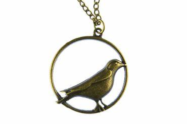 Vogel im Rahmen Kette Halskette Miniblings 80cm Vogelkette Kreis XL Bronze