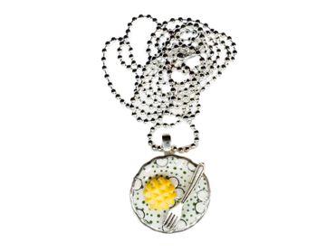 Waffel Teller Kette Halskette Miniblings 80cm Waffeln Kuchen Porzellan Punkte – Bild 1