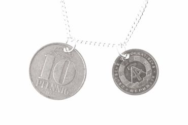 GDR East Germany DDR 1 + 10 Pfennig German Germany 2Er Necklace Miniblings Necklace Nostalgia Coin Money 60cm New – Bild 1