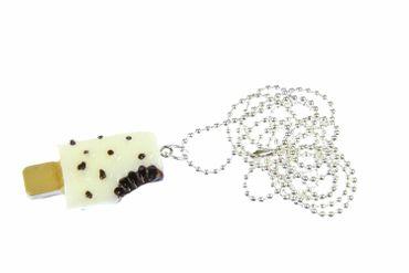 Eis Kette Eiskette Miniblings Stieleis Halskette Kawaii 80cm versilbert weiß – Bild 1