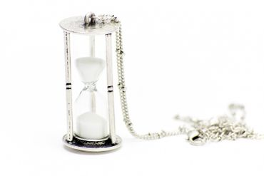 Hourglass Necklace Miniblings 5cm Running With Sand Clock Egg Timer 80cm Silver – Bild 2