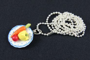 Gemüseteller Gemüse Teller Halskette Kette Miniblings Porzellan Essen 80cm – Bild 2