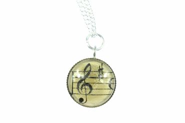 Note Necklace Cabochon Miniblings Treble Clef Link Silver Plated Music Orchestra 45cm – Bild 1