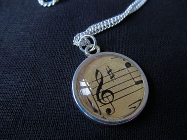 Note Necklace Cabochon Miniblings Treble Clef Link Silver Plated Music Orchestra 45cm – Bild 2