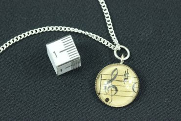 Note Necklace Cabochon Miniblings Treble Clef Link Silver Plated Music Orchestra 45cm – Bild 3