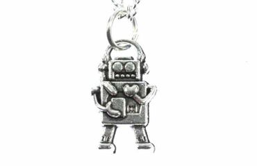 Robot Necklace Android Miniblings Scifi Technology Steampunk Computer 18mm Heart – Bild 2