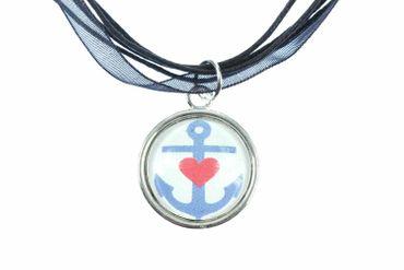 Anker Kette Ankerkette Miniblings Halskette Cabochon Chiffonband 45cm blau rot