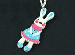 Easter Bunny Necklace Miniblings Rabbit Pet Animal Cute Blue