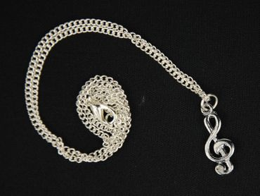 Violinschlüssel Halskette Kette Miniblings Notenschlüssel Musik 45cm silber – Bild 3