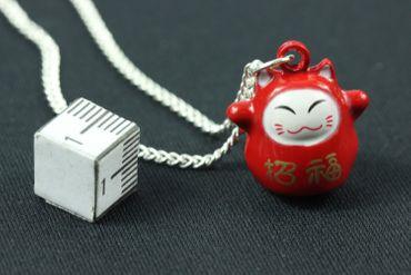 Glückskatze Winkekatze Maneki-neko Kette Halskette Miniblings 45cm rot Manga – Bild 2