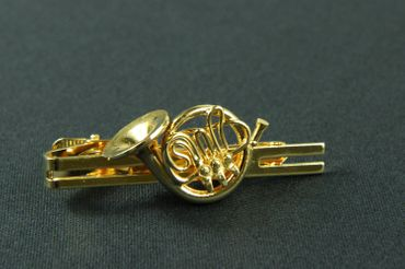 French Horn Hunting Horn Tie Clip Box Miniblings Plated Brass Music Instrument Musician – Bild 3