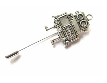 Robot Tie Clip Miniblings Pin Steampunk Android Silver Plated 4cm – Bild 1