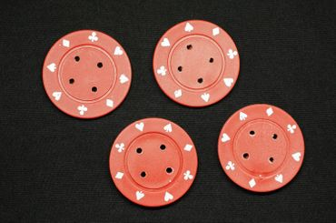 4X Chip Poker Chips Poker Buttons 4X Chips Miniblings Button Carnival 40mm Red – Bild 1