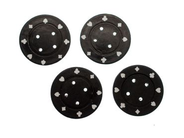 4X Chip Poker Chips Poker Buttons 4X Chips Miniblings Button Carnival 40mm Black – Bild 2
