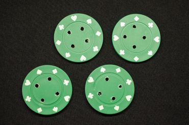 4X Chip Poker Chips Poker Buttons 4X Chips Miniblings Button Carnival 40mm Green – Bild 3