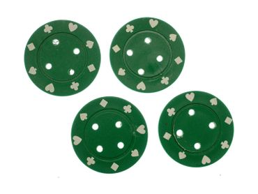4X Chip Poker Chips Poker Buttons 4X Chips Miniblings Button Carnival 40mm Green – Bild 2