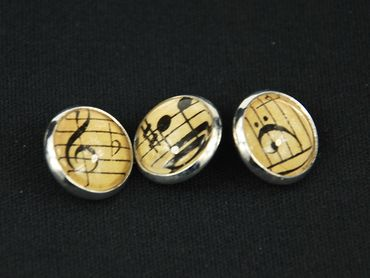 3X Music Notes Buttons Miniblings Button Treble Clef Beethoven Cabochon – Bild 2