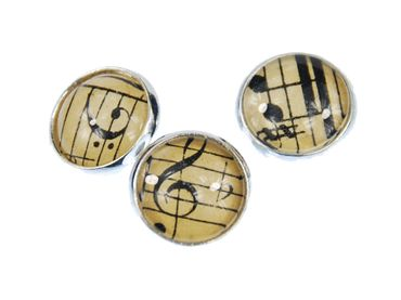 3X Music Notes Buttons Miniblings Button Treble Clef Beethoven Cabochon – Bild 1