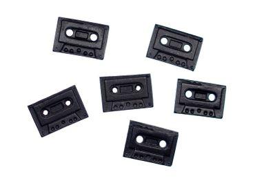 6x Cassette Buttons Handmade Miniblings Button Tape Cassette Music Musician Music Mixtape – Bild 1