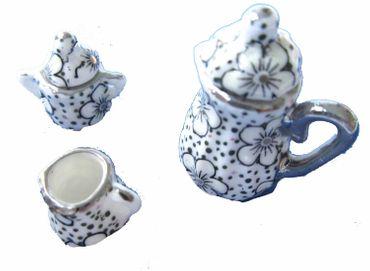 3x Service Kaffeekanne Milchkännchen Zuckerdose Puppenstube Miniblings Punkte gr