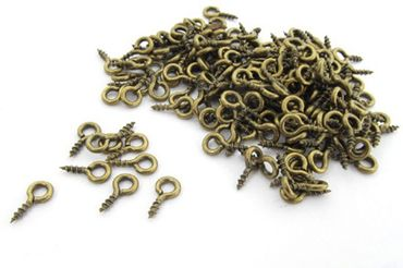 100X Mini Eyebolts Screw Hole Screw Eye Bolts Eyelets 7mm Gold Bronze – Bild 1