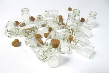 20X Mini Bottles With Corks Storage Jar Glass Bottles Miniblings Mini 25mm Doll House  Dollshouse – Bild 7