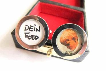 Photo Cuff Links Cufflinks Miniblings Buttons + Box Your Own Photo DIY Silver – Bild 3