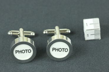 Photo Cuff Links Cufflinks Miniblings Buttons + Box Your Own Photo DIY Silver – Bild 6