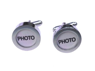 Photo Cuff Links Cufflinks Miniblings Buttons + Box Your Own Photo DIY Silver – Bild 1