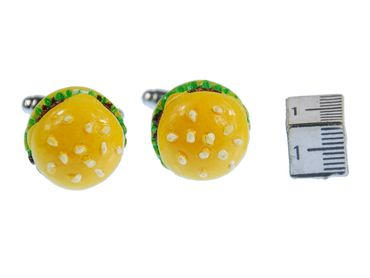 Hamburger Cuff Links Cufflinks Miniblings Buttons + Box Cheeseburger Burger Fast Food – Bild 1
