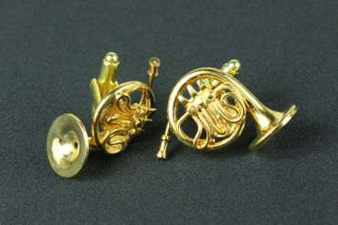 Horn French Horn Cuff Links Cufflinks Miniblings Buttons + Box Gold Plated Horn Musicians – Bild 3