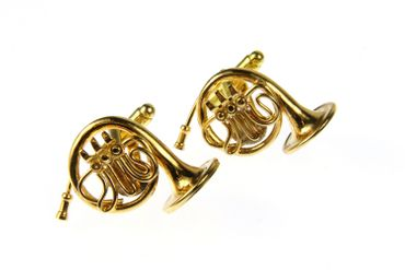 Horn French Horn Cuff Links Cufflinks Miniblings Buttons + Box Gold Plated Horn Musicians – Bild 1