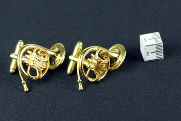Horn French Horn Cuff Links Cufflinks Miniblings Buttons + Box Gold Plated Horn Musicians – Bild 4