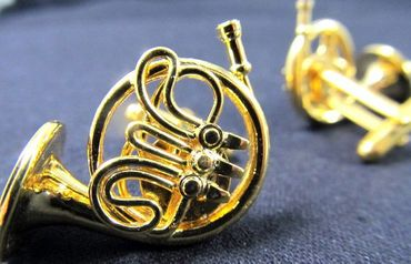 Horn French Horn Cuff Links Cufflinks Miniblings Buttons + Box Gold Plated Horn Musicians – Bild 6