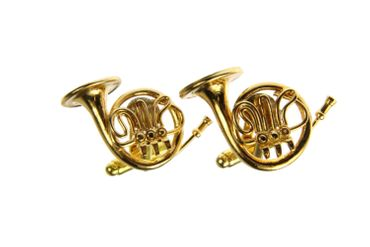 Horn Waldhorn Manschettenknöpfe Miniblings Knöpfe + Box Hornist Musiker vergoldet – Bild 1