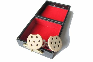 Biscuit With Bite Doppelkeks Cuff Links Cufflinks Miniblings + Box Chocolate Chip Bright – Bild 1