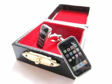 Smartphone Cuff Links Cufflinks Miniblings Buttons + Box Cell Phone Mobile – Bild 4