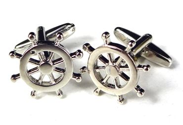 Steering Wheel Cuff Links Cufflinks Miniblings Buttons Box Ship Captain Helmsman Boat – Bild 2
