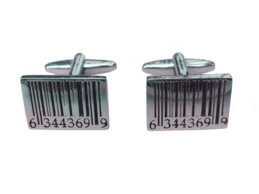 Barcode Cuff Links Cufflinks Miniblings Buttons + Box Bar Code Scanner Silver – Bild 1