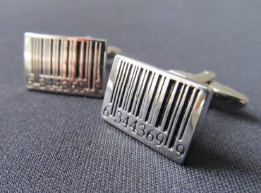 Barcode Cuff Links Cufflinks Miniblings Buttons + Box Bar Code Scanner Silver – Bild 3