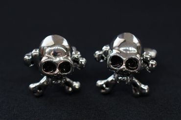 Skull Cuff Links Cufflinks Miniblings Buttons + Box Skull Halloween Silver – Bild 5