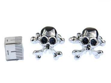Skull Cuff Links Cufflinks Miniblings Buttons + Box Skull Halloween Silver – Bild 2