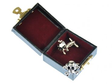 Skull Cuff Links Cufflinks Miniblings Buttons + Box Skull Halloween Silver – Bild 3